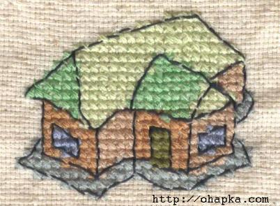 Вышитый крестиком домик по собственной схеме