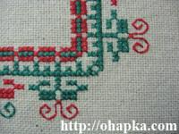 Красно-зеленая салфетка (фрагмент угла)