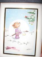 Медведь для новогодней открытки (в рамке)