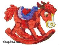 Вышитый красный конь качалка